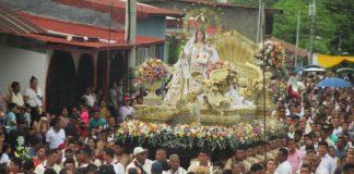 La gran procesión de la Virgen de Mercedes en León, Nicaragua.