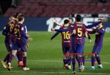 Los jugadores del FC Barcelona celebran el gol de Jordi Alba (3d) durante un encuentro correspondiente a la decimonovena jornada de la LaLiga Santander que enfrenta al FC Barcelona y la Real Sociedad en el Nou Camp este miércoles. EFE/Alejandro García