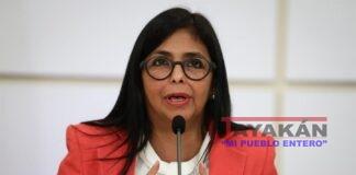 En la imagen, la vicepresidenta de Venezuela, Delcy Rodríguez. EFE/Rayner Peña/Archivo